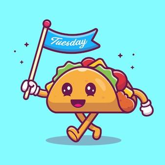 Taco maskottchen cartoon illustration. niedlicher taco-charakter, der flagge hält.