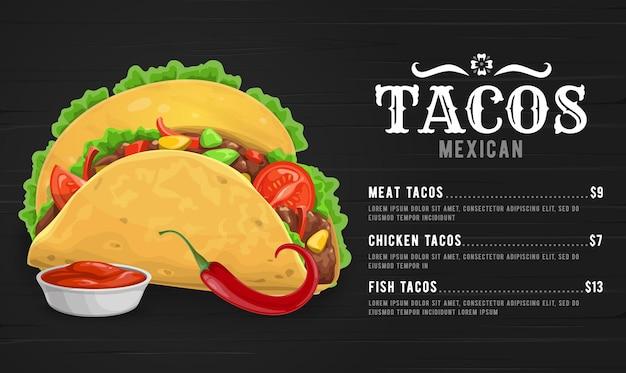Taco menüvorlage mit mexikanischem küchenrestaurantessen