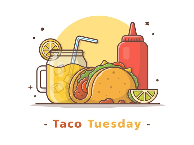 Taco-mexikanisches lebensmittel mit limonaden-und ketschup-vektor-illustration