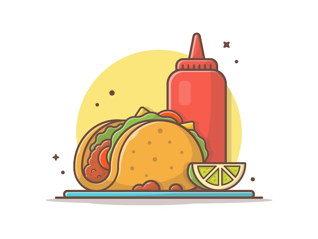 Taco-mexikanisches lebensmittel mit zitronen-und ketschup-ikonen-illustration