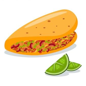 Taco mit limettenscheiben. flache ikone der mexikanischen nahrungsmittelkarikatur lokalisiert auf weißem hintergrund.