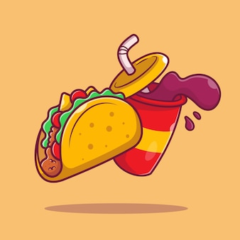 Taco mit soda cartoon icon illustration. mexiko-nahrungsmittel-symbol-konzept isoliert. flacher cartoon-stil