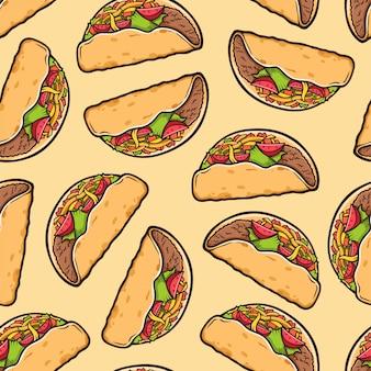 Taco nahtlose muster. traditioneller mexikanischer nahrungsmittelhintergrund.
