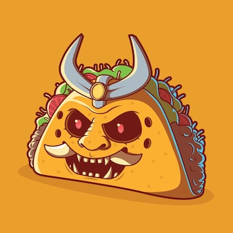 Taco samurai illustration. fast food, lieferung, lustiges designkonzept.