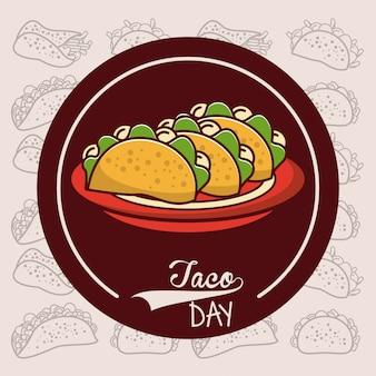 Taco-tagesmexikanische nahrungsmittelkarikatur