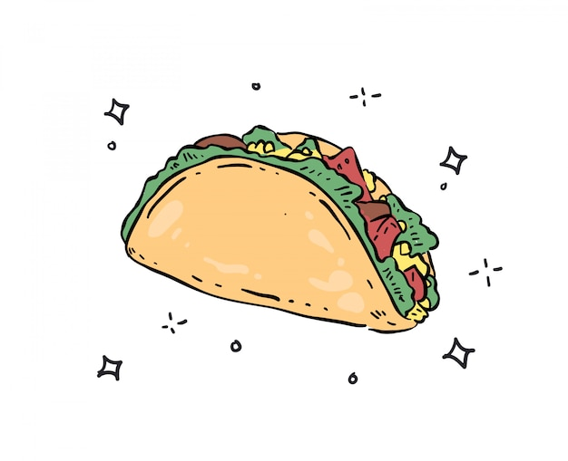 Tacos gekritzelillustration