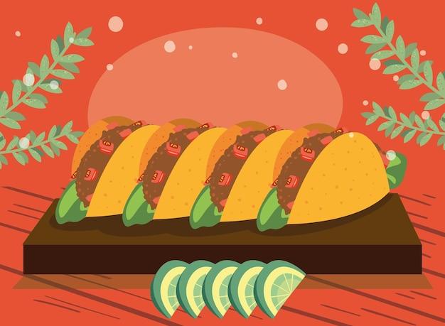 Tacos im küchenbrett