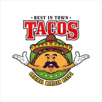 Tacos mexikanisches maskottchen-logo