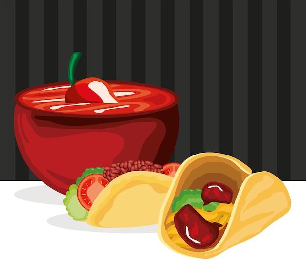 Tacos und pfeffersauce