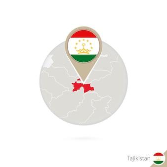 Tadschikistan-karte und flagge im kreis. karte von tadschikistan, tadschikistan-flaggenstift. karte von tadschikistan im stil der welt. vektor-illustration.
