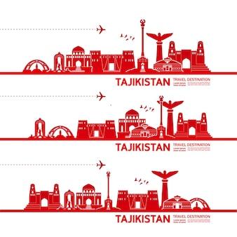 Tadschikistan reiseziel illustration.
