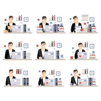 Tägliche arbeitsszenen des männlichen büroangestellten mit verschiedenen emotionen, satz illustrationen des geschäftigen tages im büro