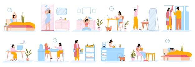 Tägliche frauenroutine. alltägliche frauen arbeiten freizeitaktivitäten, weiblicher alltag.