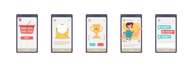 Tägliche mobile apps auf dem bildschirm des smartphones isolierten satz von mobiltelefonsymbolen