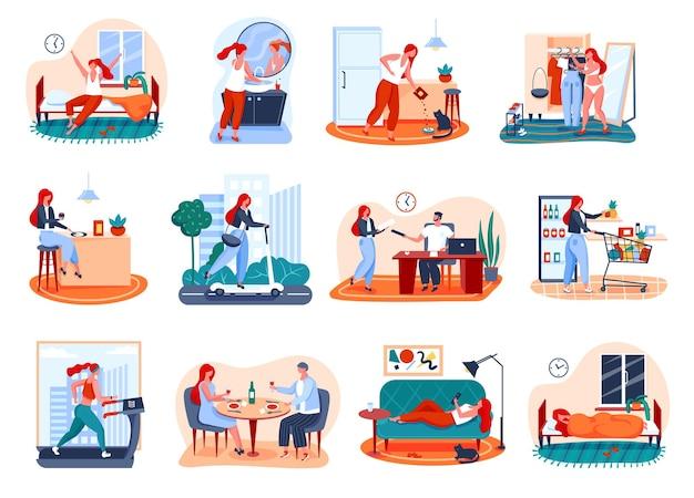 Tägliche routine der frau aufwachen arbeit ins fitnessstudio gehen lebensmittel einkaufen entspannen schlafen mädchen alltägliche aktivitäten
