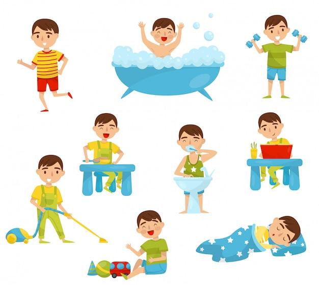 Tägliche routine des niedlichen jungensatzes, der kinderaktivität, des jungen, der sport treibt, bad nimmt, frühstückt, buch liest, spielt, illustration auf einem weißen hintergrund schläft