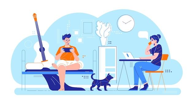 Tägliche routinekomposition der mannfrau mit der wohnraumlandschaft des innenraums und dem liebenden paar mit hund