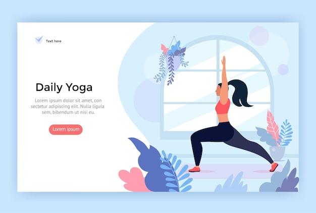 Tägliche yoga-konzeptillustration perfekt für webdesign
