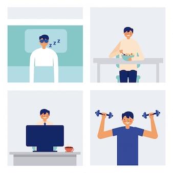 Täglicher aktivitätsmann, der das essen und die übung schläft