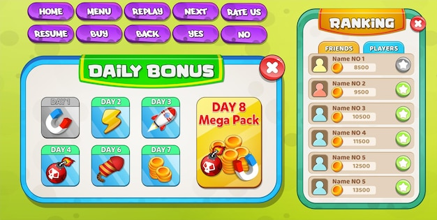 Täglicher bonus und ranglistenmenü werden mit spielgegenständen angezeigt