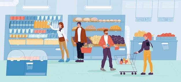 Täglicher familieneinkauf im supermarkt des lebensmittelgeschäfts