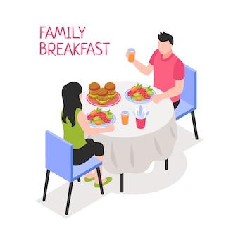 Täglicher familienfrühstücksmann und -frau während der morgenmahlzeit bei tisch auf weißer isometrischer illustration