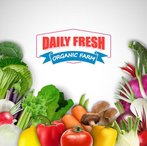Täglicher frischer orgnic gemüsehintergrund