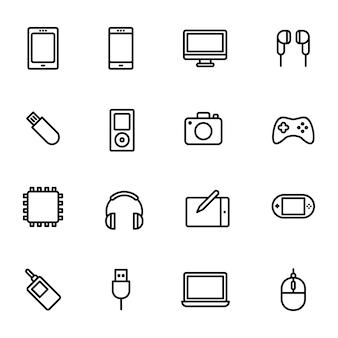 Täglicher geräte-icon-pack, umriss-icon-stil