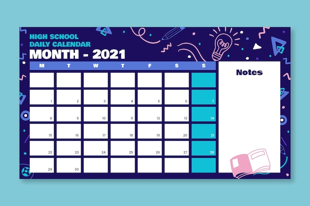 Täglicher highschool-kalender des kreativen gekritzels