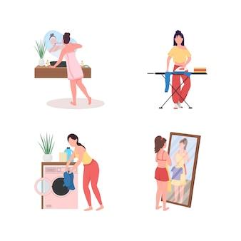 Täglicher home-routine-zeichensatz mit flacher farbe und gesichtslosem charakter. frau zähne putzen. wähle kleidung.