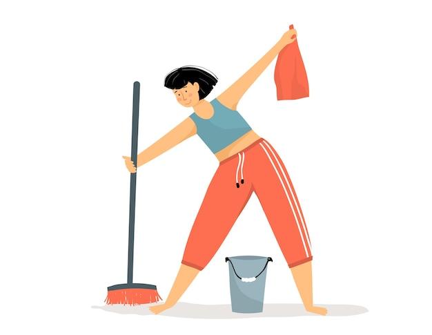 Täglicher routinereinigungsboden der frau im haus mit besen und eimer wasser. glückliches mädchen, das staubwedel wäscht und hauswirtschaft hält lächelnd. flacher cartoon.