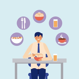 Täglicher tätigkeitsgeschäftsmann, der das mittagessen isst