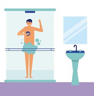 Täglicher tätigkeitsmann, der eine dusche nimmt