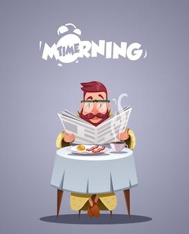 Tägliches morgenleben. junger mann, der frühstückt und eine zeitung liest. vektorillustration
