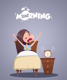 Tägliches morgenleben. junges mädchen gähnt im bett. vektorillustration