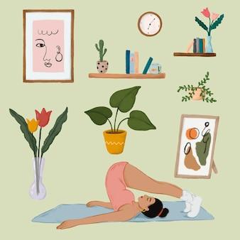 Tägliches routineleben eines mädchens, das eine halasana-yoga-pose macht und einen aufklebervektor für zuhause ausfüllt