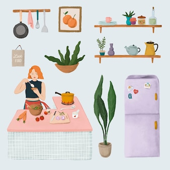 Tägliches routineleben eines mädchens, das in einer küche kocht, und hausaufkleber