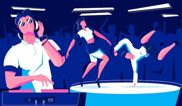 Tänzer bei nachtclubillustration