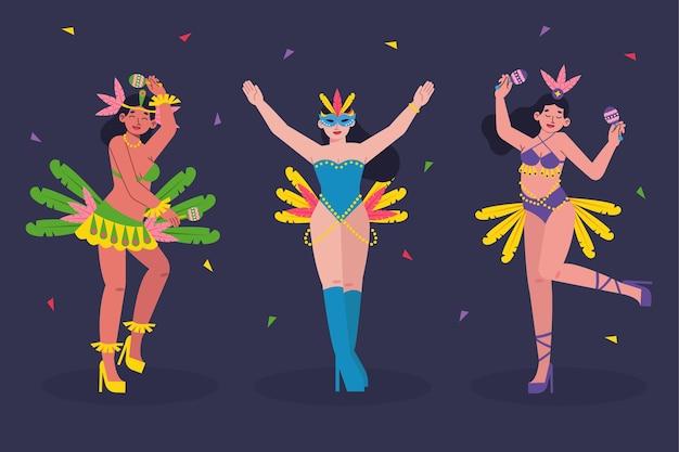 Tänzer der brasilianischen karnevalsfeier