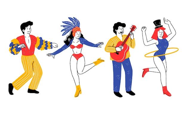 Tänzer kleideten in der gelben und blauen brasilianischen karnevalssammlung an