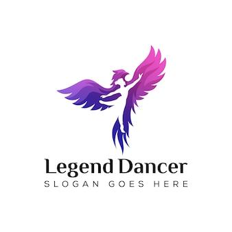 Tänzer mit phoenix-logokonzept, legendentänzer-logodesign