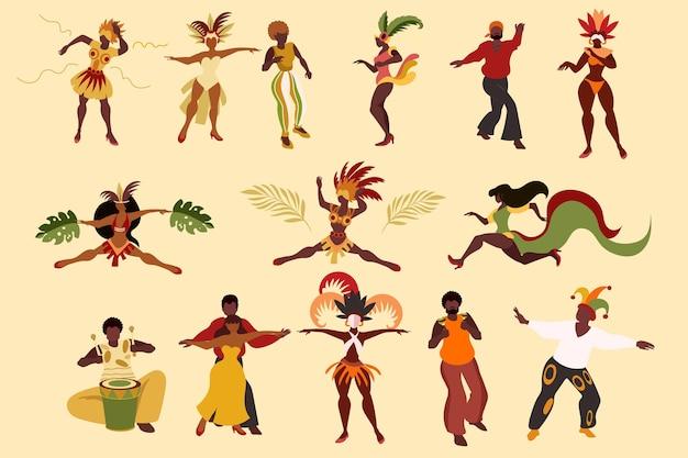 Tänzer packen brasilianischen karneval