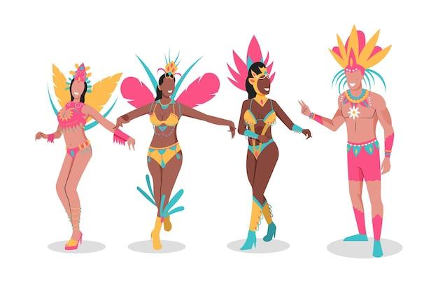 Tänzer sammlung brasilianischen karneval