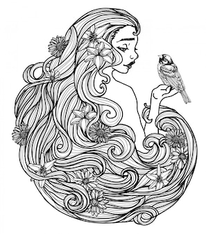 Tätowieren sie die kunstfrauen und blumenhandzeichnung und skizzieren sie schwarzweiss