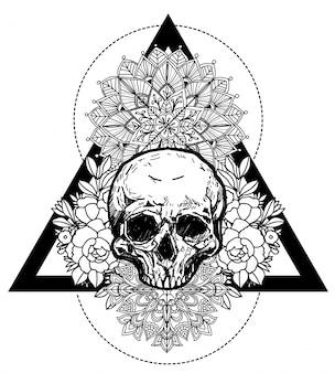 Tätowieren sie die kunstschädel- und -blumenhandzeichnung und skizzieren sie schwarzweiss mit linie kunstillustration