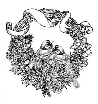 Tätowieren sie die kunstvogelhandzeichnung und -skizze, die auf weißem hintergrund schwarzweiss sind.