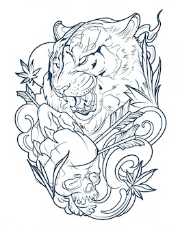 Tätowierung eines bösen tigers mit einem menschlichen schädel