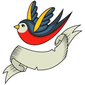 Tätowierung mit schwalben- und bandfahne für eine aufschrift
