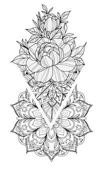 Tätowierungskunst blüht die handzeichnung und -skizze, die mit linie die lokalisierte kunstillustration schwarzweiss sind