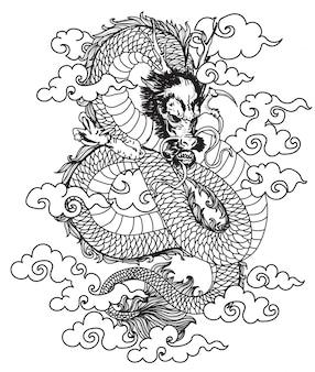 Tätowierungskunst-drachehandzeichnung und -skizze mit linie kunst